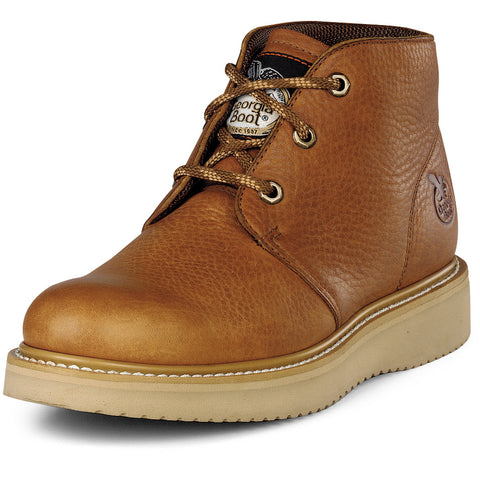 Georgia Mens Barracuda Gold Leather SPR Wedge Chukka Work Boots
