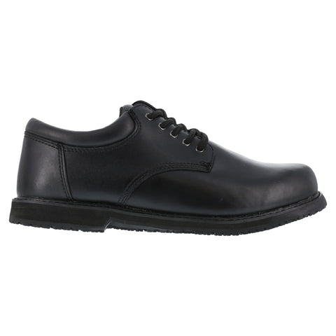 Grabbers Mens Black Leather SR Casual Oxford Friction Soft Toe