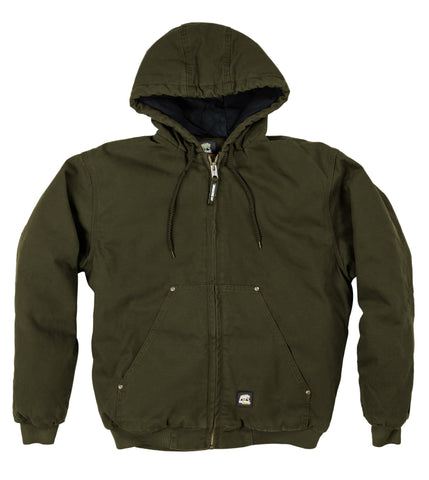 Berne Mens Moss 100% Cotton Hooded Jacket Quilt Lined