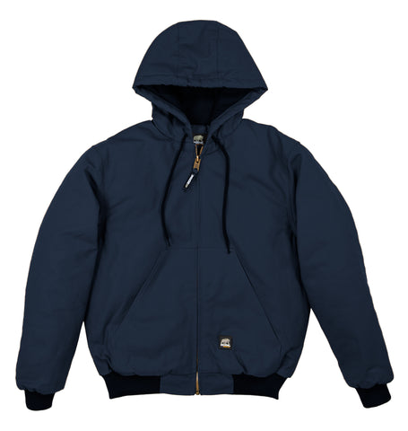 Berne Mens Navy 100% Cotton Hooded Jacket