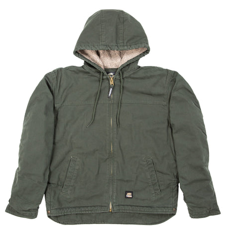 Berne Mens Moss 100% Cotton Hooded Work Coat