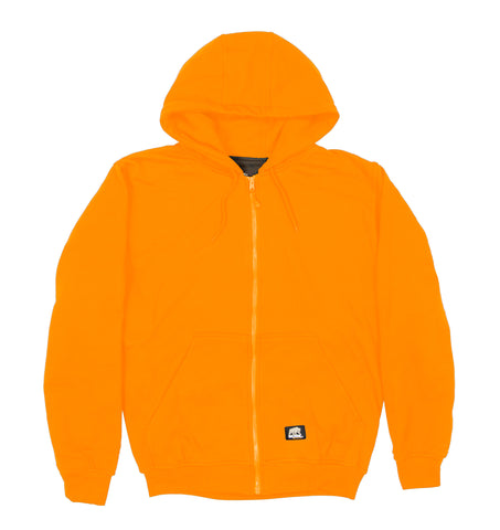 Berne Mens Orange Fleece Hooded Sweatshirt