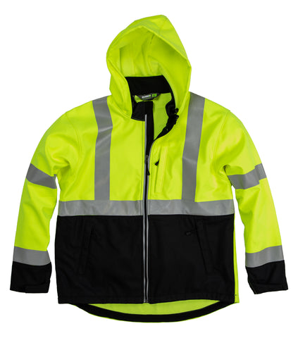 Berne Mens Yellow Fleece Hi-Visibility Softshell Jacket