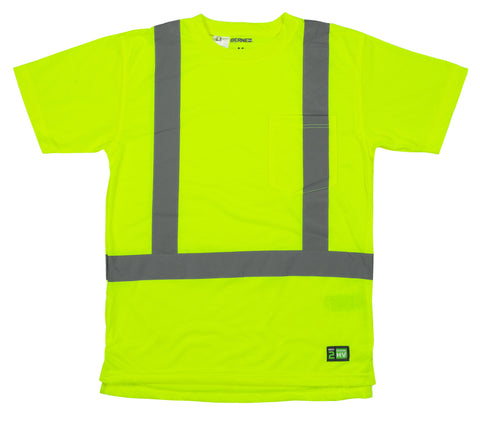 Berne Mens Yellow Polyester Hi-Visibility Pocket Tee S/S