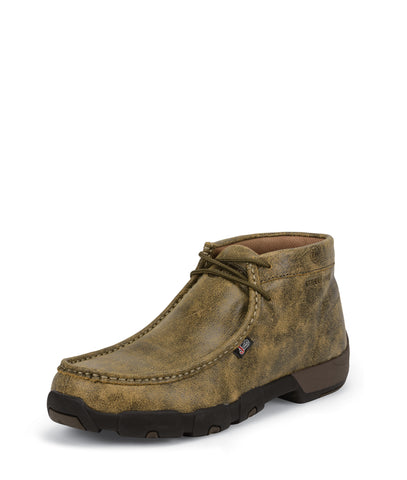 Justin Mens Tan Leather Work Boots Steel Toe 4in Bomber