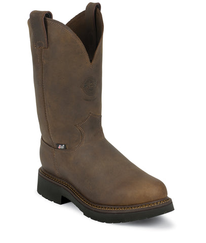 Justin Mens Bay Leather Work Boots Rugged Gaucho J-Max Pull-On