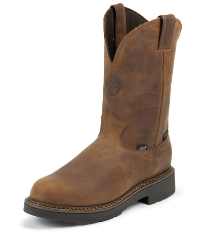 Justin Mens Bark Leather Work Boots Waterproof Pull-On J-Max