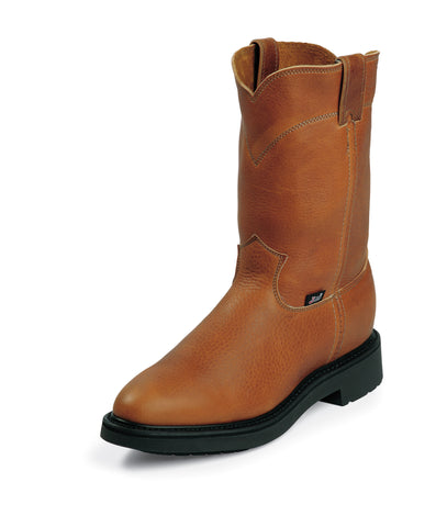 Justin Mens Copper Leather Work Boots Pull-On Double Comfort