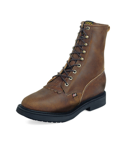Justin Mens Bark Leather Work Boots Kiltie Lace-Up Double Comfort
