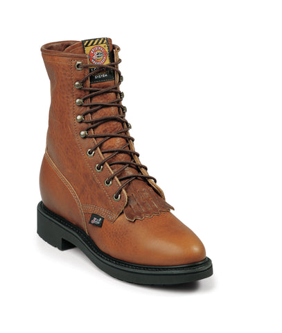 Justin Mens Copper Leather Work Boots Kiltie Lace-Up Double Comfort