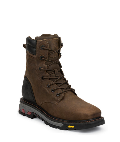 Justin Mens Tobacco Leather Work Boots Steel Toe Lace-Up Commander X5 WP