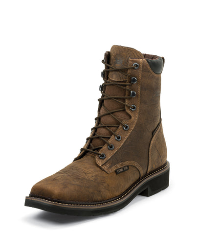 Justin Mens Barnwood Leather Work Boots Comp Toe Lace-Up 8in WP