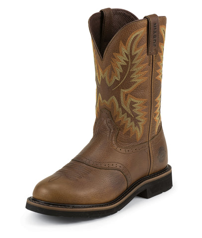 Justin Mens Sunset Cowhide Leather Work Boots 11in Stampede Pull-On
