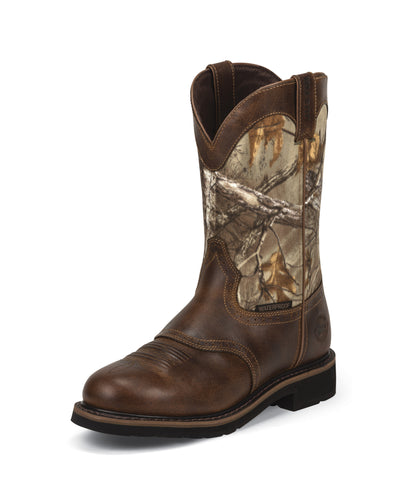Justin Mens Tan Rugged Leather Work Boots 11in Stampede Realtree