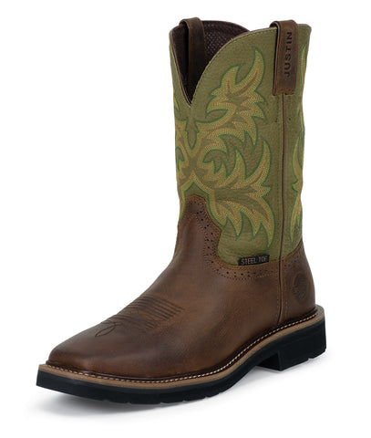 Justin Mens Green Cowhide Leather Work Boots 11in Stampede Steel Toe