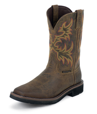 Justin Mens Tan Cowhide Leather Work Boots 11in Stampede Waterproof