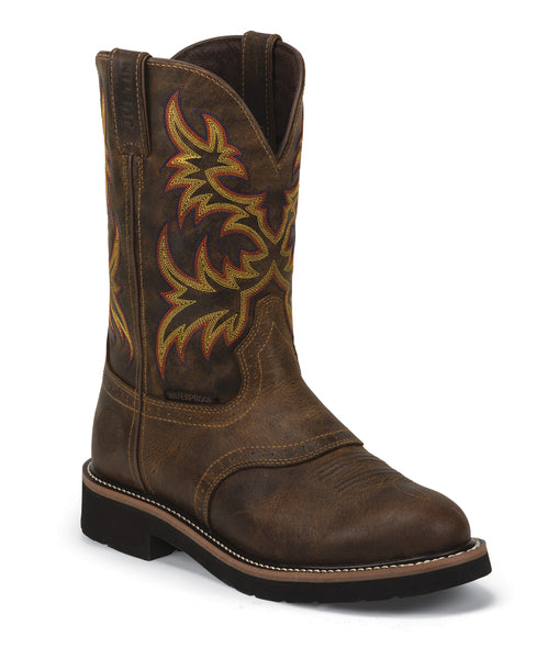 Justin Mens Tan Rugged Leather Work Boots 11in Stampede