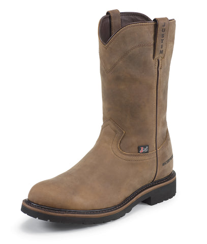Justin Mens Wyoming Leather Work Boots Steel Toe WP Worker II