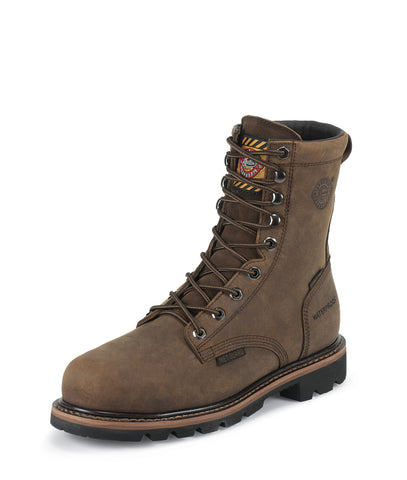 Justin Mens Wyoming Leather Work Boots Comp Toe Lace-Up WP Worker II
