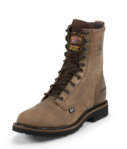 Justin Mens Wyoming Leather Work Boots WP Steel Toe Lace-Up 8in