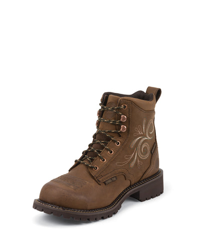 Justin Womens Bark Leather Work Boots WP Steel Toe Lace-Up 6in