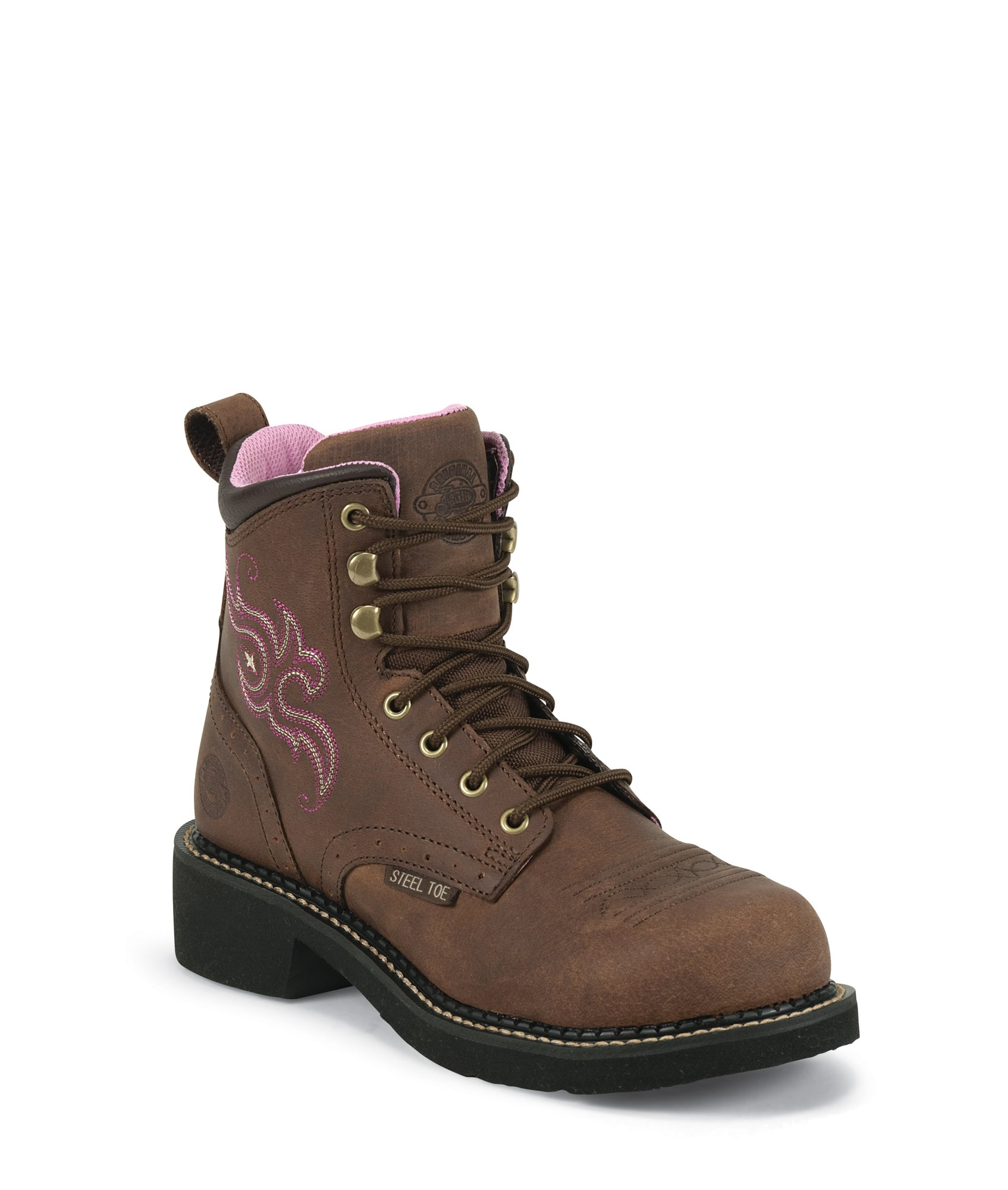 justin women's lace up work boots