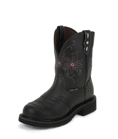 Justin Womens Black Pebble Leather Work Boots WP Steel Toe Pull-On