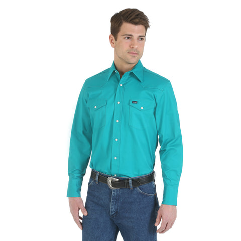 Wrangler Turquoise Cotton Blend Mens Advance Comfort Work L/S Shirt
