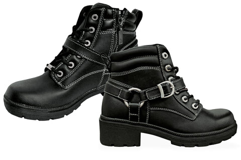 Milwaukee Paragon Womens Motorcycle Boots Black Leather
