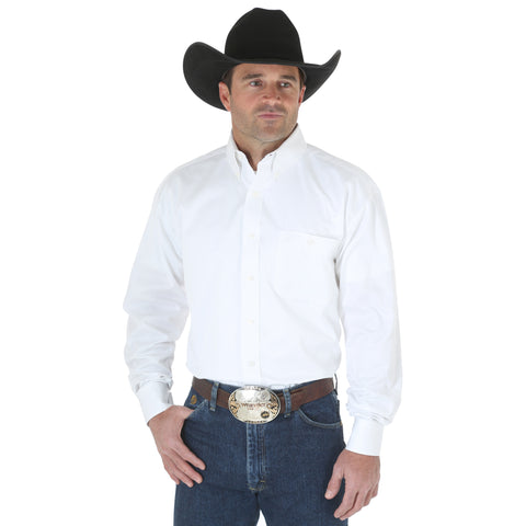 Wrangler 0 White 100% Cotton George Strait L/S Shirt