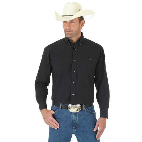Wrangler Mens Black Cotton Blend George Strait Patriot L/S Shirt