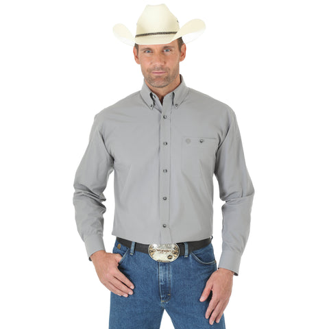 Wrangler Mens Grey Cotton Blend George Strait Collection L/S Shirt