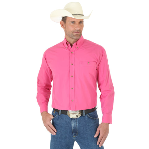 Wrangler Mens Pink Cotton Blend George Strait Collection L/S Shirt