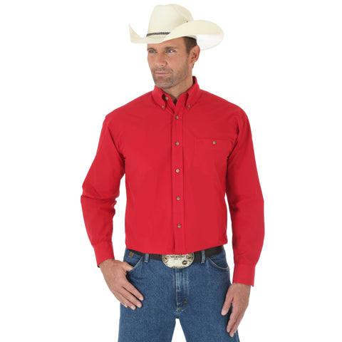 Wrangler Mens Red Cotton Blend George Strait Collection L/S Shirt