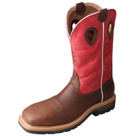 Twisted X Mens Red Leather Comp Toe WP Lite Weight Cowboy Work Boots