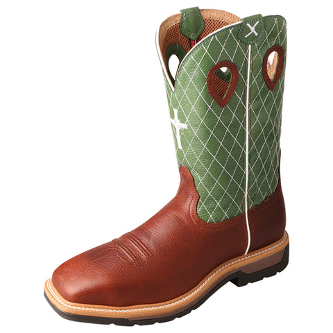 Twisted X Mens Lime Leather Steel Toe Cross Lite Weight Cowboy Work Boots