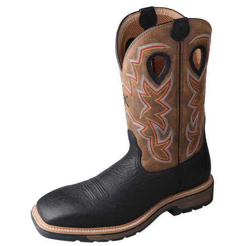 Twisted X Mens Black Leather Steel Toe Lite Weight Cowboy Work Boots