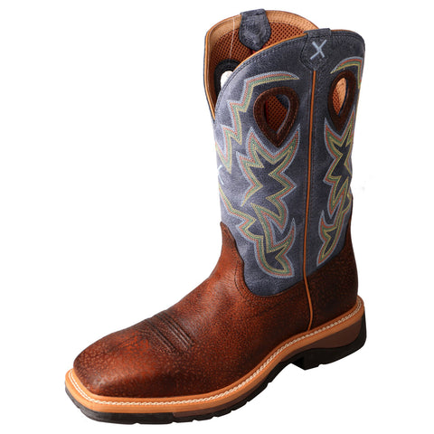 Twisted X Mens Navy Leather Steel Toe Lite Weight Cowboy Work Boots