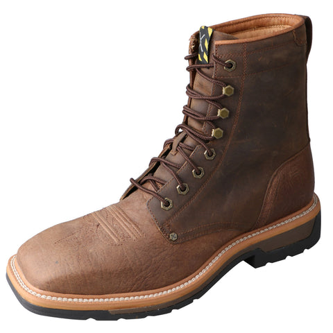 Twisted X Mens Brown Leather Steel Toe 8in Lite Weight Cowboy Work Boots