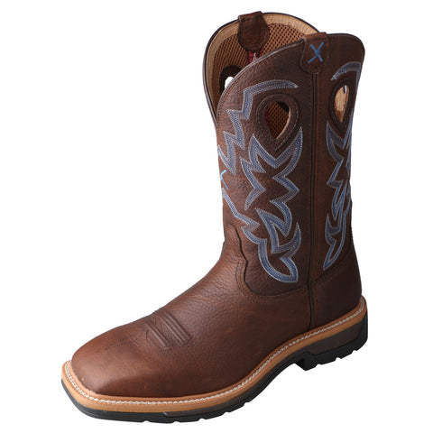 Twisted X Mens Pebble Leather Brown Lite Weight Cowboy Work Boots