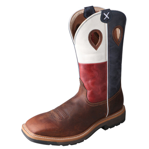 Twisted X Mens Brown Leather Texas Flag Lite Weight Cowboy Work Boots