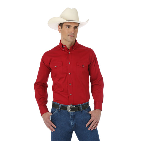 Wrangler Mens Red 100% Cotton Painted Desert L/S Shirt