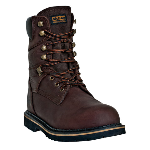 McRae Industrial Mens Brown Leather 8in Lace-Up Steel Toe Work Boots
