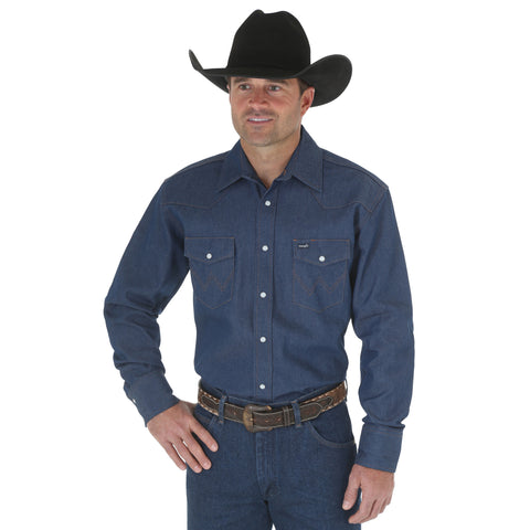 Wrangler Blue 100% Cotton Mens Work Western L/S Shirt