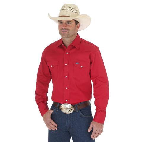 Wrangler Red 100% Cotton Mens Work Western L/S Shirt