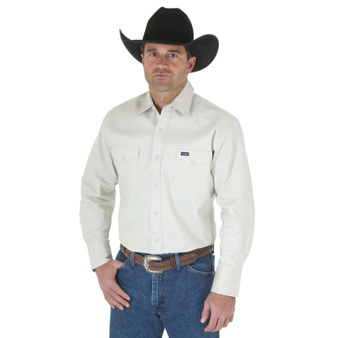 Wrangler Stone 100% Cotton Mens Work Western L/S Shirt