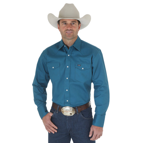Wrangler Dark Teal 100% Cotton Mens Work Western L/S Shirt