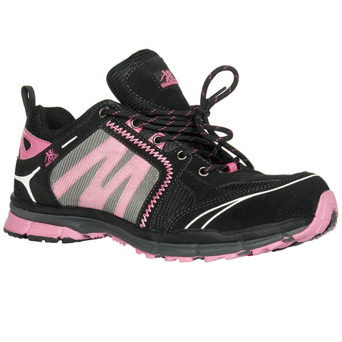 Moxie Trades Womens Black/Pink Faux Leather Robin Athletic Work Shoes