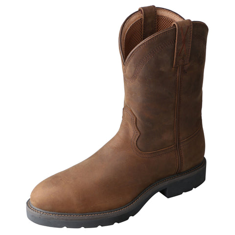 Twisted X Mens Brown Leather Round Toe Cowboy Work Pull On Boots