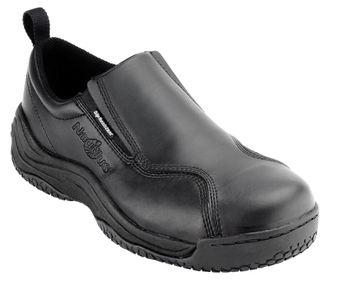 Nautilus Womens Ergolite Slip Resistant Slip On /W Black Leather Shoes